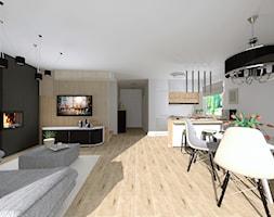 Salon z kuchnią w domu jednorodzinnym - Duży szary biały salon z kuchnią z jadalnią - zdjęcie od QL Home