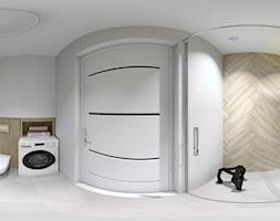 Mieszkanie dwupokojowe we Wrocławiu - Duża szara łazienka w bloku w domu jednorodzinnym bez okna - zdjęcie od QL Home