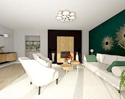 Duży szary zielony czarny salon - zdjęcie od QL Home