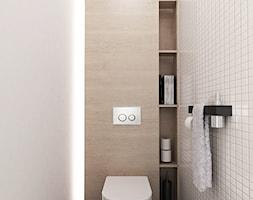 PROJEKT MIESZKANIA 55 m2 - Mała beżowa brązowa łazienka w bloku bez okna, styl minimalistyczny - zdjęcie od STUDIO MAC