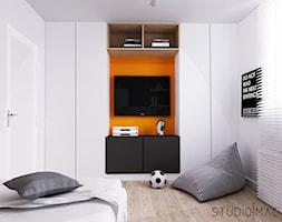PROJEKT MIESZKANIA 55 m2 - Mały biały pokój dziecka dla chłopca dla nastolatka, styl nowoczesny - zdjęcie od STUDIO MAC
