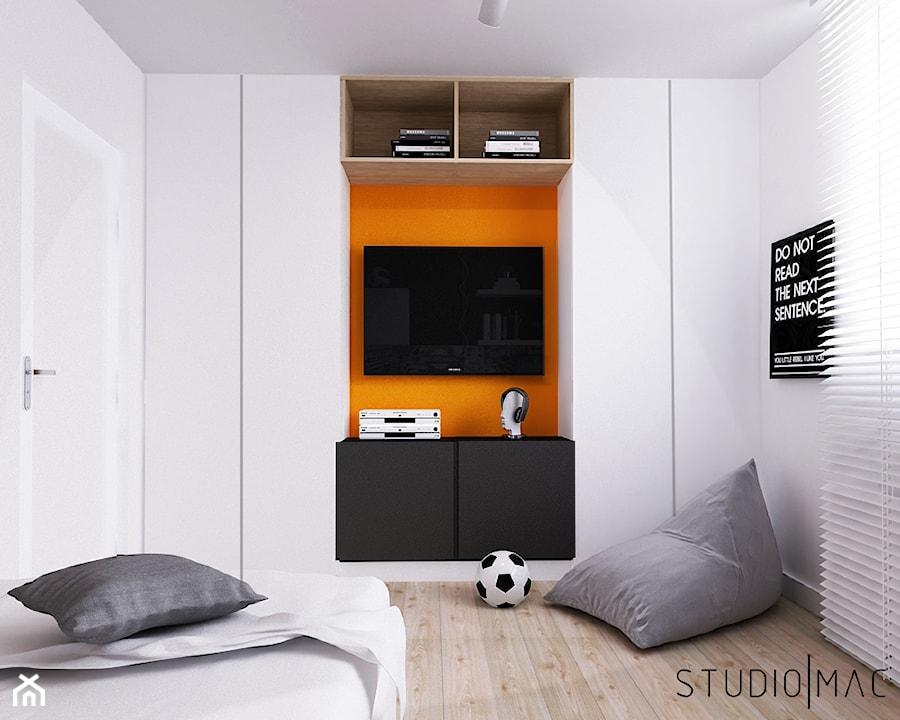 Aranżacje wnętrz - Pokój dziecka: PROJEKT MIESZKANIA 55 m2 - Mały biały pokój dziecka dla chłopca dla nastolatka, styl nowoczesny - STUDIO MAC. Przeglądaj, dodawaj i zapisuj najlepsze zdjęcia, pomysły i inspiracje designerskie. W bazie mamy już prawie milion fotografii!