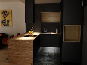 Orange Juice - Mała otwarta czarna kuchnia w kształcie litery u w aneksie - zdjęcie od URBAN DESIGN WARSAW