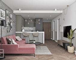 MIESZKANIE 41,5m2 - Średni szary salon z kuchnią z jadalnią, styl eklektyczny - zdjęcie od UKOSY studio