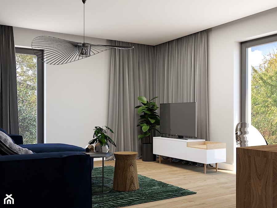 Mieszkanie z różową ścianą - Średni szary salon z jadalnią, styl eklektyczny - zdjęcie od Wonderspace - studio projektowania wnętrz