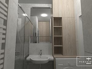 """PROJEKT MIESZKANIA W """"KORONA PRAGI"""" - Mała biała szara łazienka bez okna - zdjęcie od Paszkiewicz Design"""