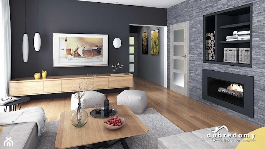 Oceania, 113,90 m2 - projekt salonu z kominkiem - zdjęcie od Pracownia Projektowa Dobre Domy ...