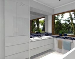 Heksagonalna łazienka - Duża szara łazienka w bloku w domu jednorodzinnym z oknem - zdjęcie od Dominika Chybowska