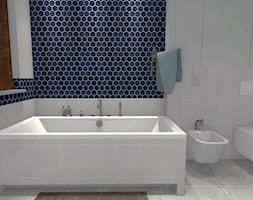 Heksagonalna łazienka - Średnia szara łazienka w bloku w domu jednorodzinnym z oknem - zdjęcie od Dominika Chybowska