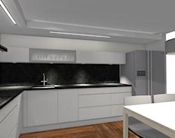 Monochromatyczny minimalizm... - Duża zamknięta szara kuchnia w kształcie litery l - zdjęcie od Dominika Chybowska