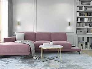 DUSTY PINK MODERN GLAM - Średni szary biały salon z bibiloteczką, styl glamour - zdjęcie od LENA INTERIORS