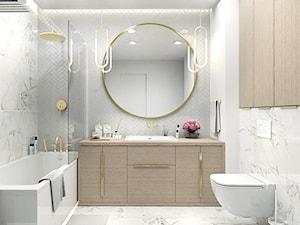 DUSTY PINK MODERN GLAM - Średnia biała szara łazienka bez okna, styl glamour - zdjęcie od LENA INTERIORS