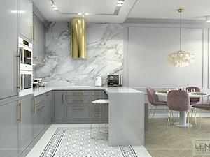 DUSTY PINK MODERN GLAM - Średnia otwarta szara kuchnia w kształcie litery u w aneksie, styl glamour - zdjęcie od LENA INTERIORS