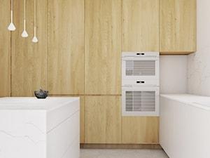 Dom jednorodzinny w Wadowicach. - Średnia zamknięta biała czarna kuchnia w kształcie litery l z wyspą z oknem, styl minimalistyczny - zdjęcie od TIKA DESIGN