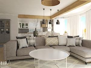 Living room w skandynawskim stylu. - Duży beżowy salon z kuchnią z jadalnią, styl skandynawski - zdjęcie od TIKA DESIGN