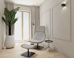 Dom jednorodzinny pod Katowicami. - Średnie beżowe szare biuro w pokoju, styl nowoczesny - zdjęcie od TIKA DESIGN