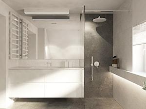 Dom w Suchej Beskidzkiej. - Średnia czarna szara łazienka na poddaszu w domu jednorodzinnym z oknem, styl minimalistyczny - zdjęcie od TIKA DESIGN