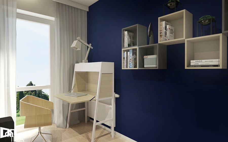 Projekt mieszkania w Rzeszowie, 65 m2 - Średnie niebieskie szare biuro kącik do pracy w pokoju, styl nowoczesny - zdjęcie od TIKA DESIGN