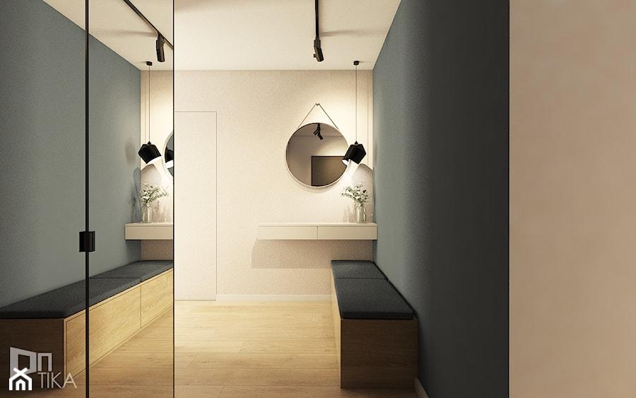 Mieszkanie w Katowicach, 90 m2 - Duży biały czarny hol / przedpokój, styl nowoczesny - zdjęcie od TIKA DESIGN