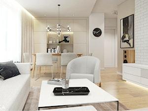 Projekt Rzeszów - Średni biały salon z jadalnią, styl nowoczesny - zdjęcie od TIKA DESIGN