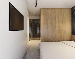 Mieszkanie w Katowicach, 90 m2 - Mała biała sypialnia małżeńska z łazienką, styl nowoczesny - zdjęcie od TIKA DESIGN