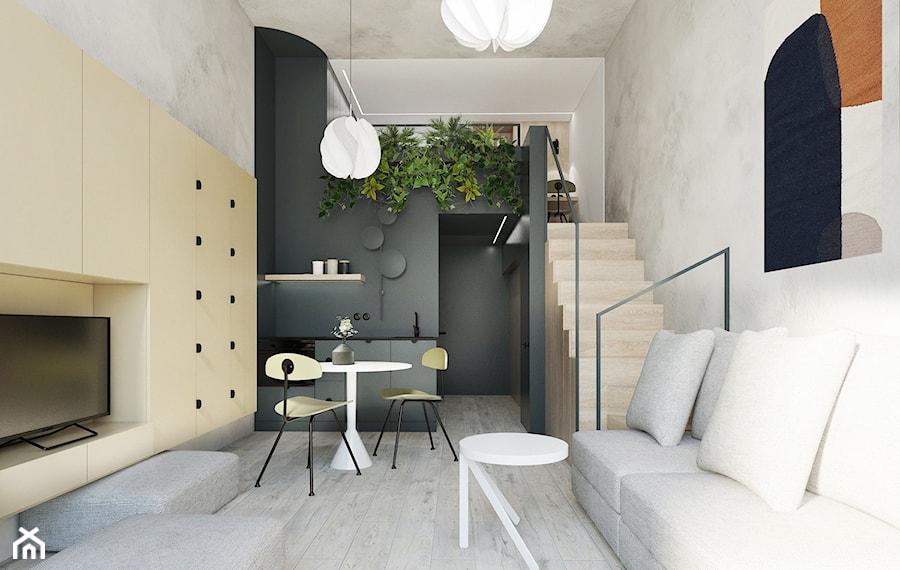 Aranżacje wnętrz - Salon: Apartament MiniMaxy. - Mały szary beżowy czarny salon z kuchnią z jadalnią z tarasem / balkonem - TIKA DESIGN. Przeglądaj, dodawaj i zapisuj najlepsze zdjęcia, pomysły i inspiracje designerskie. W bazie mamy już prawie milion fotografii!