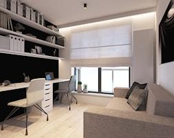 Mieszkanie z marmurem, Katowice 80 m2 - Średnie czarne białe biuro domowe kącik do pracy w pokoju, styl minimalistyczny - zdjęcie od TIKA DESIGN