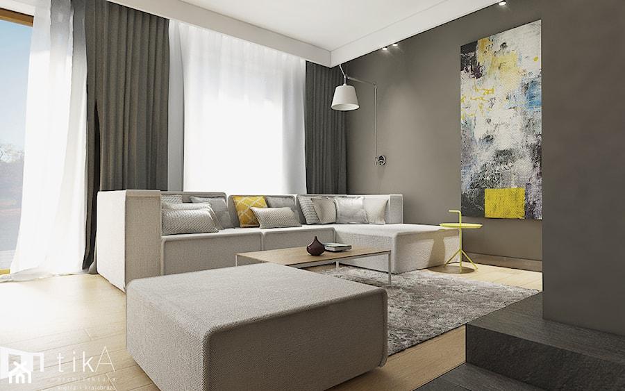 Projekt Czernichów - Średni szary salon, styl nowoczesny - zdjęcie od TIKA DESIGN