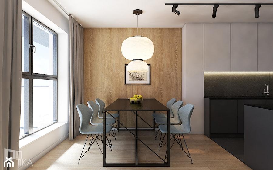 Mieszkanie w Katowicach, 90 m2 - Średnia otwarta biała beżowa jadalnia jako osobne pomieszczenie, styl nowoczesny - zdjęcie od TIKA DESIGN