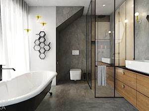 Salon kąpielowy - Średnia biała szara łazienka z oknem, styl nowoczesny - zdjęcie od TIKA DESIGN