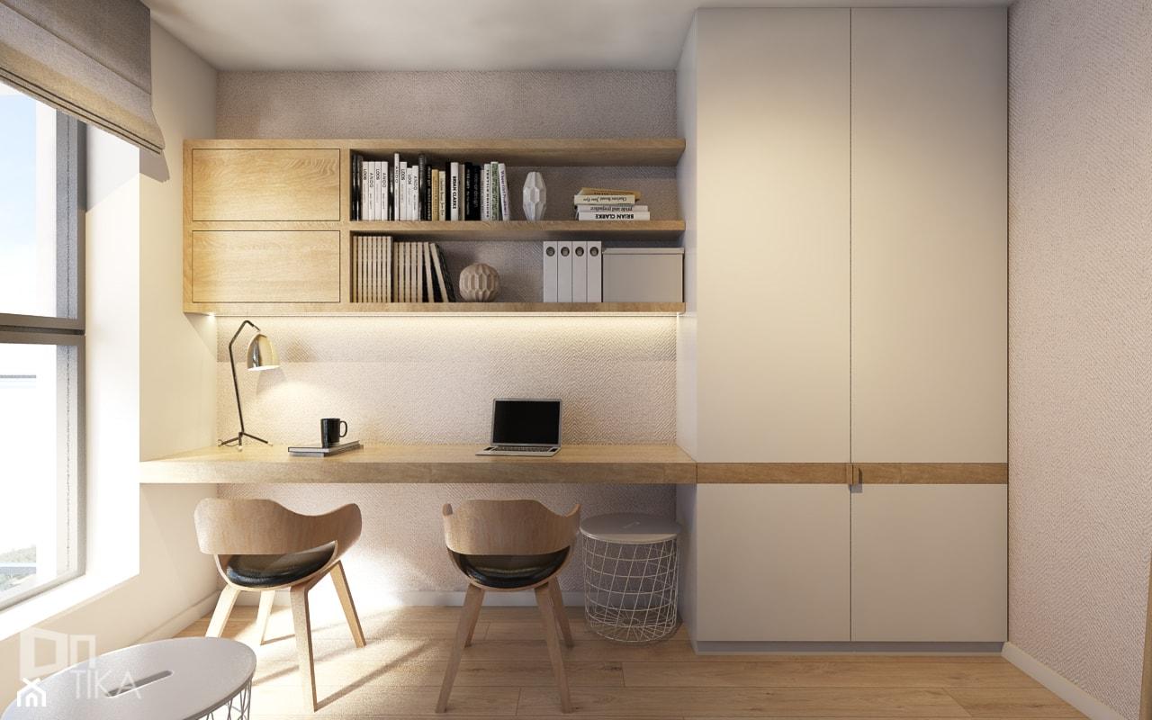 Mieszkanie w Katowicach, 90 m2 - Małe białe biuro domowe kącik do pracy, styl nowoczesny - zdjęcie od TIKA DESIGN - Homebook