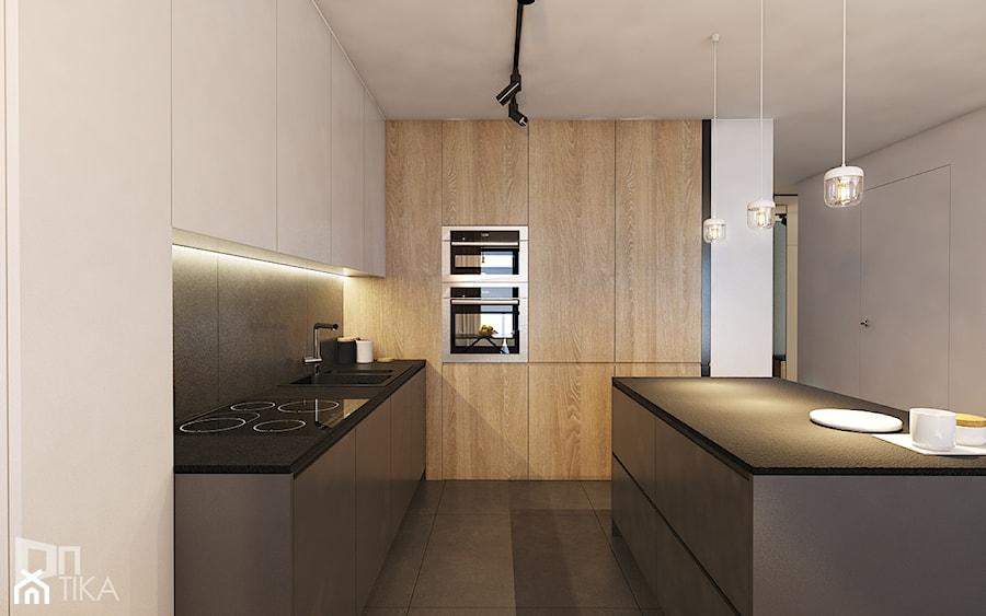 Mieszkanie w Katowicach, 90 m2 - Średnia otwarta beżowa kuchnia w kształcie litery l z wyspą, styl nowoczesny - zdjęcie od TIKA DESIGN