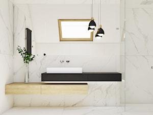 Dom jednorodzinny w Wadowicach. - Średnia biała łazienka na poddaszu w domu jednorodzinnym z oknem, styl minimalistyczny - zdjęcie od TIKA DESIGN