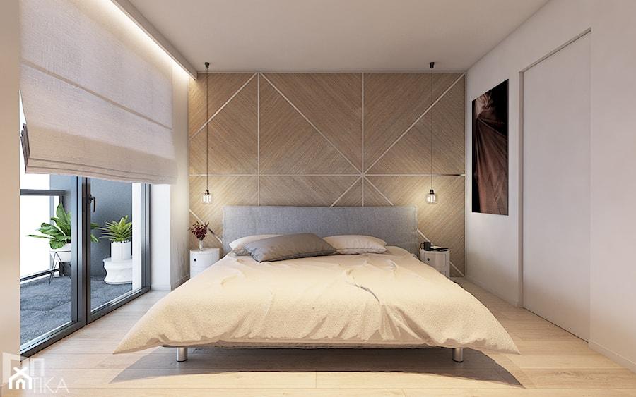 Mieszkanie z marmurem, Katowice 80 m2 - Średnia beżowa biała sypialnia dla gości z balkonem / tarasem, styl minimalistyczny - zdjęcie od TIKA DESIGN