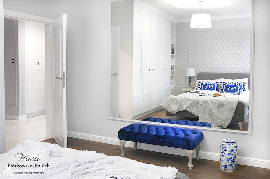 """""""New Jork, New Jork..."""" - Średnia szara sypialnia małżeńska, styl nowojorski - zdjęcie od Architektura Wnętrz Marta Piórkowska-Paluch"""
