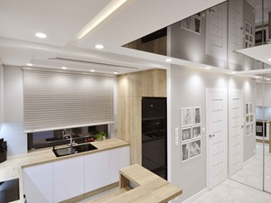 REALIZACJA NOWOCZESNY DOM - Średnia otwarta biała szara kuchnia w kształcie litery g w aneksie z oknem - zdjęcie od ABC Projektowo • projektowanie wnętrz