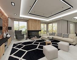 Projekt wnętrz domu prywatnego Dobre - Duży szary salon z jadalnią, styl nowoczesny - zdjęcie od PROJEKTOWNIA Małgorzata Woldańska