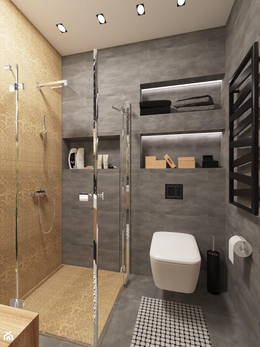 Aranżacje wnętrz - Łazienka: Projekt łazienki w domu prywatnym - Średnia łazienka w bloku w domu jednorodzinnym bez okna, styl nowoczesny - PROJEKTOWNIA Małgorzata Woldańska. Przeglądaj, dodawaj i zapisuj najlepsze zdjęcia, pomysły i inspiracje designerskie. W bazie mamy już prawie milion fotografii!