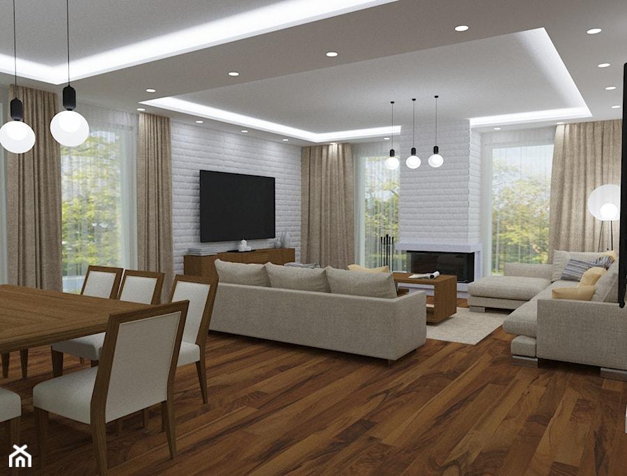 Projekt wnętrz domu prywatnego pod Mińskiem Mazowieckim opcja 2 - Duży biały salon z kuchnią z jadalnią, styl nowoczesny - zdjęcie od PROJEKTOWNIA Małgorzata Woldańska