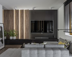Bliźniak w Węgrzcach koło Krakowa - Średni biały czarny salon, styl nowoczesny - zdjęcie od e interiors - Homebook