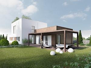 Dom z biało-brązowo elewacją