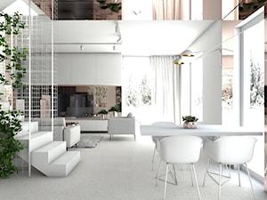 Białe wnętrze z miedzianymi elementami