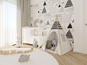 Pokój niemowlaka - Średni biały pokój dziecka dla chłopca dla dziewczynki dla niemowlaka - zdjęcie od DNAarchitekci