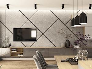 Mieszkanie pary kitesurferów - Średni szary biały salon z jadalnią, styl nowoczesny - zdjęcie od 2DENST projektowanie wnętrz