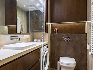 Mieszkanie czytelniczki książek i miłośniczki kotów. - Mała brązowa łazienka w bloku w domu jednorodzinnym bez okna, styl nowoczesny - zdjęcie od 2DENST projektowanie wnętrz