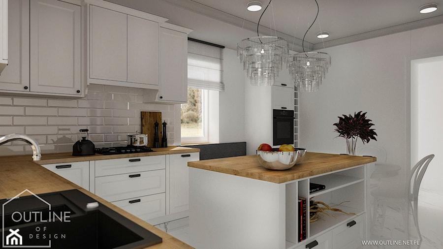 Białe kuchnie w stylu klasycznym - Duża zamknięta biała szara kuchnia w kształcie litery l z wyspą z oknem, styl klasyczny - zdjęcie od Outline of Design