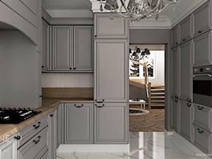 Dom jednorodzinny w stylu klasycznym - Średnia zamknięta szara kuchnia w kształcie litery u, styl klasyczny - zdjęcie od Outline of Design