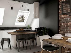 Nowoczesna mieszkanie na poddaszu w stylu industrialnym - Średnia otwarta biała czarna kuchnia dwurzędowa z oknem, styl industrialny - zdjęcie od Outline of Design