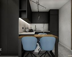 Kawalerka w stylu nowoczesnym - Mała otwarta szara kuchnia w kształcie litery l, styl nowoczesny - zdjęcie od Outline of Design