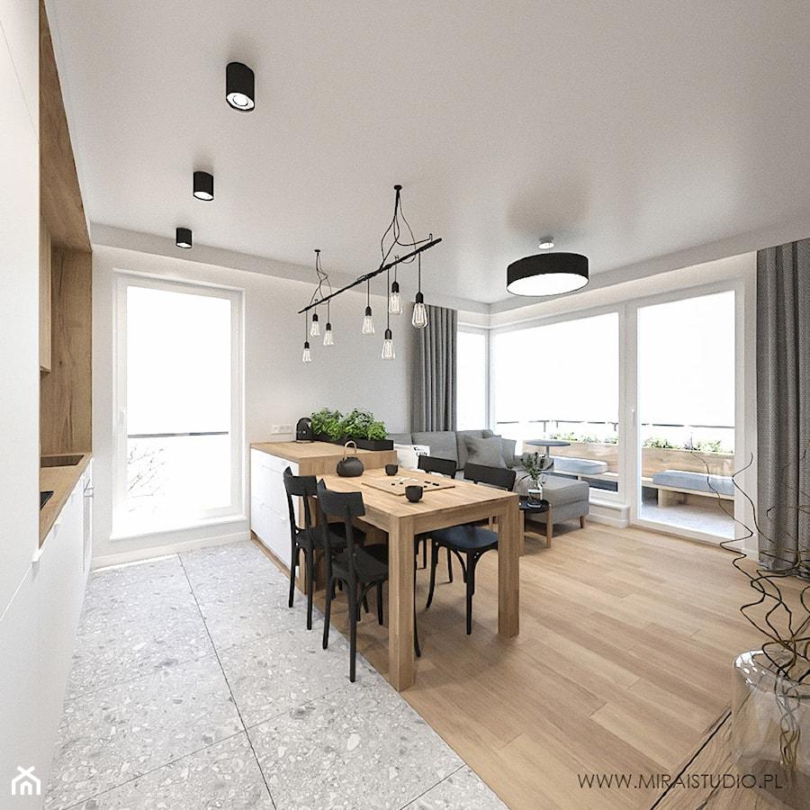 KRAKÓW, WROCŁAWSKA - MIESZKANIE - Średni szary salon z kuchnią z jadalnią z tarasem / balkonem, styl eklektyczny - zdjęcie od MIRAI STUDIO
